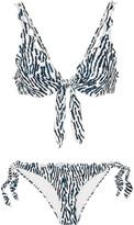 On The Island By Marios Schwab - Los Roques Leopard-print Bikini - Blue