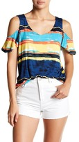 Joseph A Mixed Stripe Cold Shoulder V-Neck Blouse