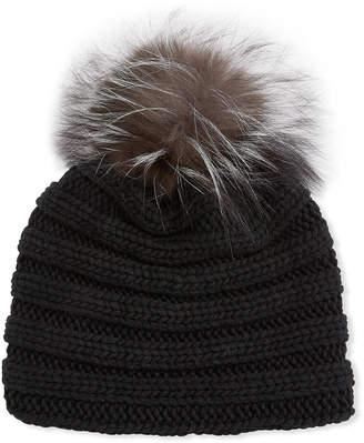 Inverni Knit Cashmere Beanie Hat w/ Fox Fur Pompom