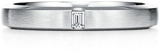 Tiffany & Co. Essential Band satin finish ring in platinum with a diamond