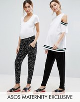 Asos 2 Pack Jersey Peg Pants in Plain Black and Blurred Polka Dot