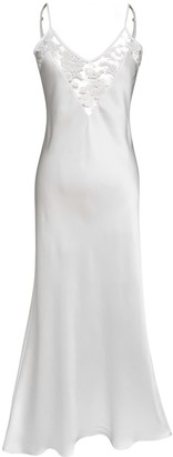 Natalie Begg Silk Ankle-Length Backless Slip With French Lace Ivory