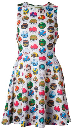 Meroncourt Women's Pokemon Woman's All-Over Pokeball Printed Sleeveless Dress Medium