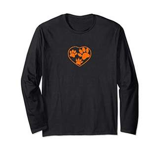 Rubber Stamped Pet Paw Prints Long Sleeve T-Shirt