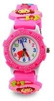Jewtme Kids' JW0036 girle Pattern Plastic Shell Silicone Strap Cartoon Watch Pink