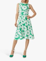 Hobbs Petite Pure Linen Twitchill Floral Dress, Green/White