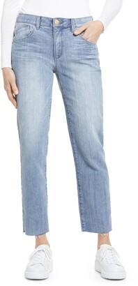 Wit & Wisdom Ab-Solution High Waist Raw Hem Crop Slim Straight Leg Jeans
