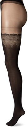 Pretty Polly Women's Pretty Flirty Lace Mock Hold Ups Tights 10 DEN