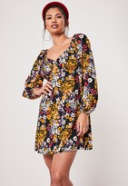 Missguided Black Floral Print Milkmaid Skater Dress