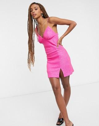 Topshop neon sequin slip in pink