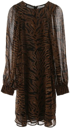 Ganni Tiger Print Flared Dress