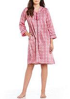 Miss Elaine Tasseled Medallion-Print Satin & Fleece Tasseled Zip Robe