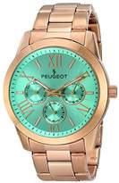 Peugeot Women's 7095TQ Analog Display Japanese Quartz Rose Gold Turquoise Dial Watch