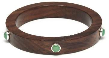 The Branch Jewellery Slim Rosewood Bangle with Green Aventurine Stones