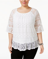 Style&Co. Style & Co Plus Size Lace-Overlay Top, Only at Macy's