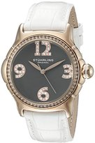 Stuhrling Original Women's Quartz Watch with Grey Dial Analogue Display and White Leather Strap 592.049999999999