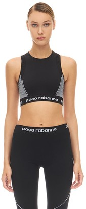 Paco Rabanne Logo Technical Jersey Crop Top