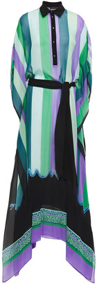Just Cavalli Asymmetric Printed Chiffon Maxi Shirt Dress