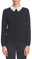 CeCe Cluster Embellished Collar Knit Jersey Pullover