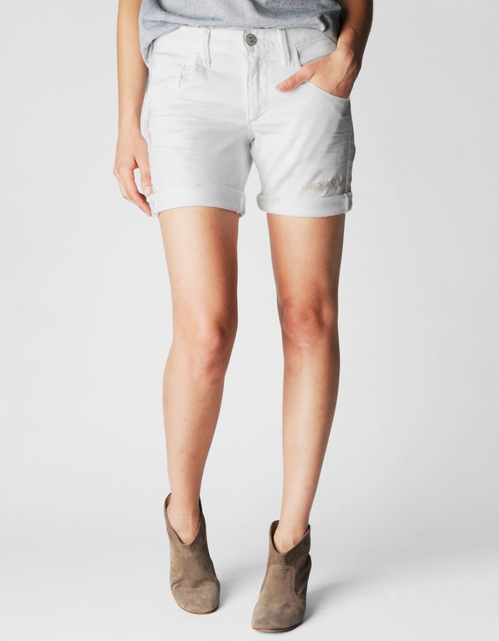 True Religion Miles Mid Rise Relaxed Rolled Womens Denim Short