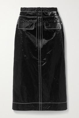REJINA PYO Taylor Topstitched Crinkled Coated-shell Midi Skirt - Black