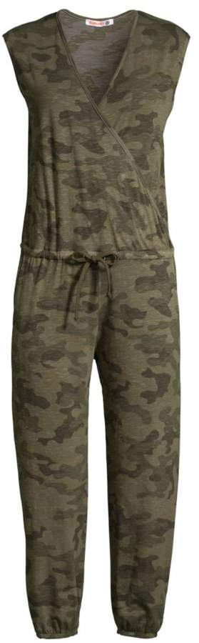Sundry Camouflage Crop Drawstring Jumpsuit