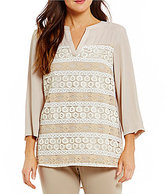 Investments Petites 3/4 Sleeve Lace Overlay Top