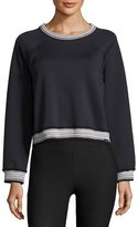 Koral Activewear Club Raglan Rib-Stripe Sweatshirt, Black