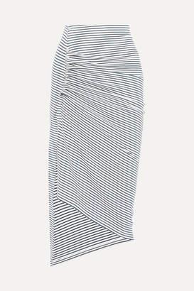 Paco Rabanne Asymmetric Striped Stretch-cotton Jersey Skirt - Navy