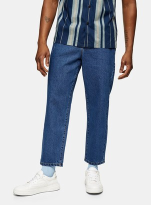 Topman FARAH Blue Hawtin Crop Denim Trousers*