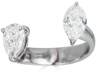 Zydo Luminal 18k White Gold Diamond Marquise and Pear Split Ring, Size 7