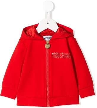 Moschino Kids logo zipped hoodie