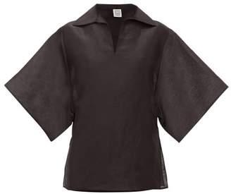 Totême Liry Linen-blend Shantung Top - Womens - Black