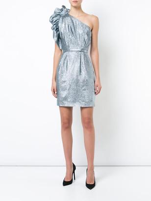 Stella McCartney One-shoulder Belted Dress Silver