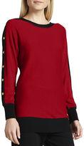 Joan Vass Colorblock Button-Sleeve Sweater, Petite