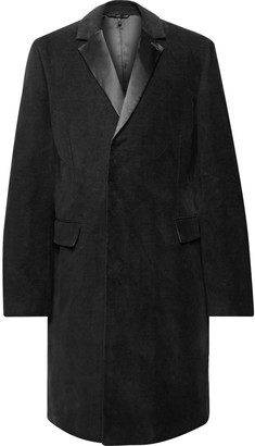 Helmut Lang Silk Satin-Trimmed Cotton-Moleskin Overcoat