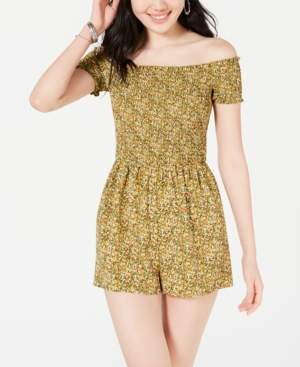 Material Girl Juniors' Smocked Off-The-Shoulder Romper, Created for Macy's