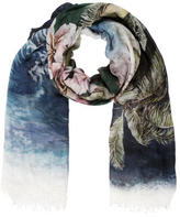 Stella McCartney Printed Raw-Edge Scarf