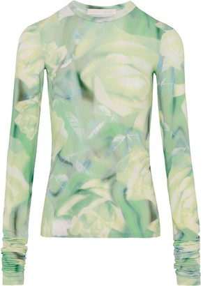 Fenty by Rihanna Long Sleeve Top With Green Rose Print