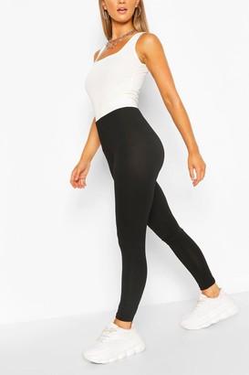 boohoo Contrast Waistband Basic Jersey Leggings