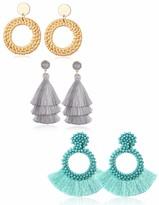 Udalyn Layered Tassel Earrings Bohemian Handmade Beaded Fringe Dangle Earrings for Women Straw Wicker Braid Hoop Drop Dangle Earrings Women Gifts