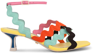 Kat Maconie Multicolored Wavy Strap Kitten-Heel Sandals