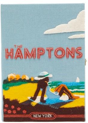 Olympia Le-Tan The Hamptons Canvas Clutch Bag - Womens - Blue Multi