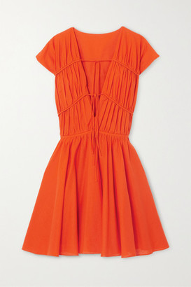TOVE Ceres Tie-detailed Cotton-poplin Mini Dress - Orange