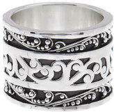 Lois Hill Sterling Silver Classic Hand Carved Filigree Band Ring - Size 10