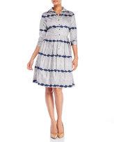 Samantha Sung Edwardian Lace Print Shirtdress