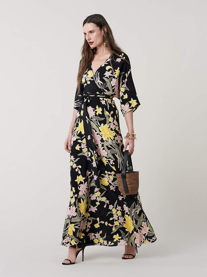 Diane von Furstenberg Eloise Silk Maxi Wrap Dress