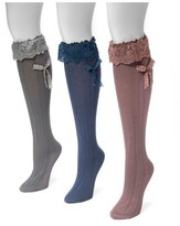 Muk Luks Women's 3 Pair Pack Lacey Bow Knee High Socks - Multicolor One Size