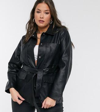 Threadbare Curve Threadbare Plus lemonade belted faux-leather coat