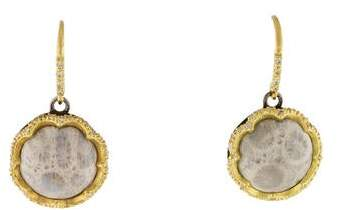 Armenta Old World Scalloped Fossilized Coral & Diamond Drop Earrings